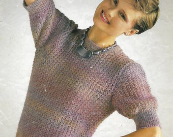 knitting pattern, women's, ladies, sweater, top, quick knit, sizes 30 to 40 in, pdf, digital download, instant download