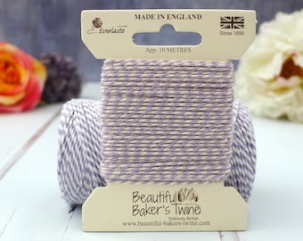 Lilac Baker's Twine 10m - Pastel Purple and White Cotton Twine - Puple Baker's Twine - Lavender Baker's Twine