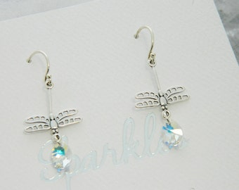 Sterling Silver Dragonfly Crystal Earrings  Swarovski