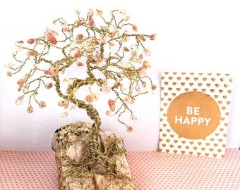Sunstone Gem Tree, Gold Wire Tree, Gemstone Tree Sculpture, Tree Art, Wire Trees