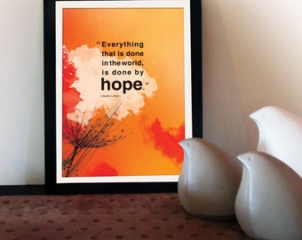 A4 Inspirational poster with hope quote. Positive thinking for office wall decor. Inspiring quote poster gift. Office decor (PO-A4-015)