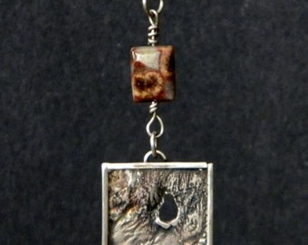 Sterling Silver Reticulated Square Pendant