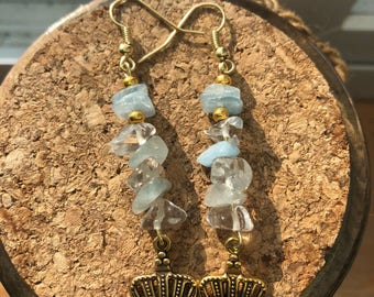 Aquamarine and quartz earrings with crown charm