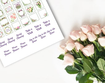 Spring Floral Sticker Sheet for Pagan Ostara, Cleaning, and Activities
