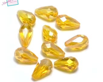 "beads 10/30 ""large Teardrop faceted"" Crystal 15 x 10 mm, golden yellow"