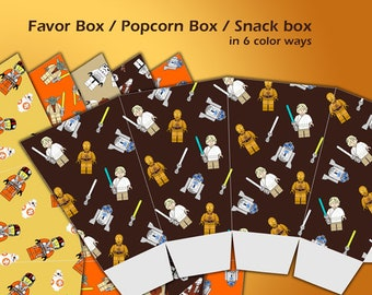 Star Wars Favors, Star Wars Favor Bags, Star Wars Party Favors, Star Wars Birthday Party Snack Box, Popcorn Box DIY Printable Candy Box