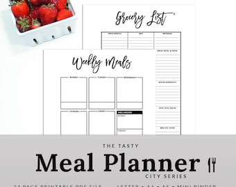Weekly Meal Planner Meal Planner Printable Menu Planner Grocery List Meal Planner Shopping City | PMEA-1200-A, INSTANT DOWNLOAD