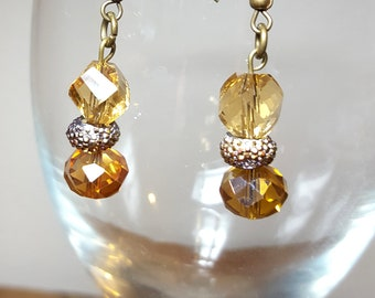 Amber Glass Bead Earrings Dangle Gold Copper Free US Shipping