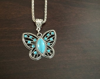 Turquoise Necklace, Butterfly Necklace, Turquoise Butterfly, Butterfly, Turquoise Jewelry, Turquoise Pendant, Silver Necklace, Necklace