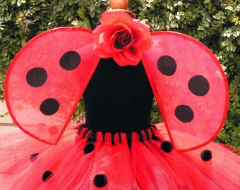 Lovely Ladybug - Handmade Wings - very sturdy to last for many years of play - Pair with a tutu for a fun Ladybug Halloween Costume
