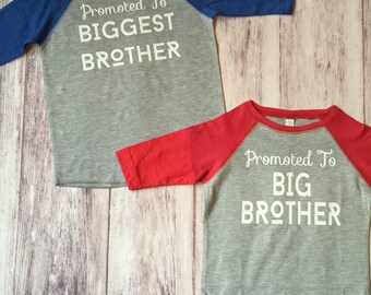 Promoted To Big Brother & Biggest Brother shirts, pregnancy announcement shirt, soon to be big brother shirt, new baby announ