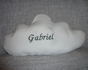 white cloud with name embroidered pillow
