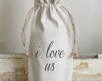 I Love Us Wine Bag_wine, present, party favor, wedding favor, gift bag, party, hostess gift