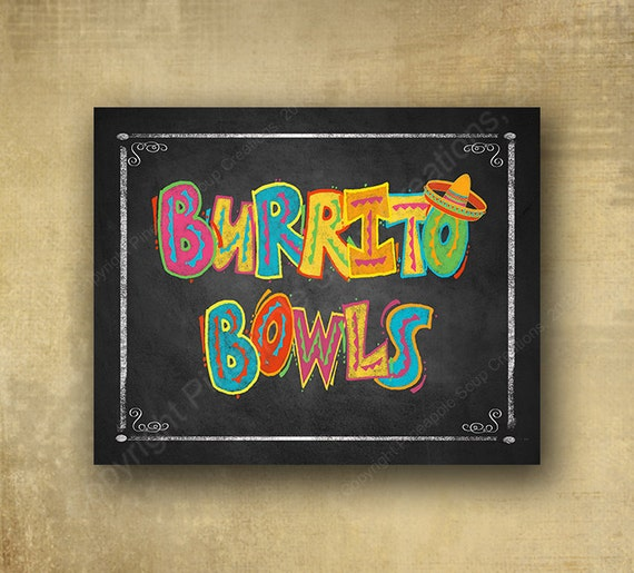 Printed Burrito Bowls Fiesta chalkboard looking sign, Fiesta party signage, graduation sign, wedding sign, Fiesta Grad sign, Fiesta birthday
