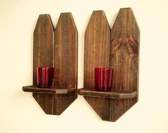 Rustic Wall Decor|Rustic Home Decor|Reclaimed Wood Sconce|Wall Sconce|Rustic Wall Display|Wall Shelf|Rustic Decor|Gift Idea|Candle Shelf