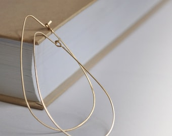 Gold Teardrop Hoop Earrings - Elegant Tear Drop Hoops 2.5 inch - 14K Gold Filled Jewelry - Hammered, Elongated, Modern / Oval Hoops / Trendy