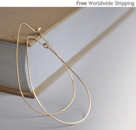Gold Teardrop Hoop Earrings Elegant Tear Drop Hoops 2.5 Inch