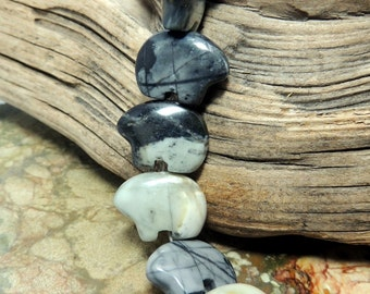 Picasso Marble Zuni Bear Beads  Pair for earrings Jewelry black gray tan make your own Dreamcatchers earrings Teen Size 12 x 18 mm