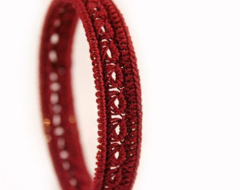 Marsala bangle bracelet - Crochet Jewelry - crocheted bracelet - crochet bracelets - marsala dress - crochet jewellery - MudenoMade