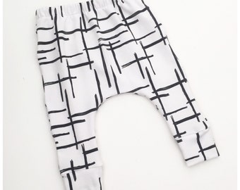 Baby Leggings, Toddler Leggings, Baby Harems / Abstract in White / IN STOCK - SALE