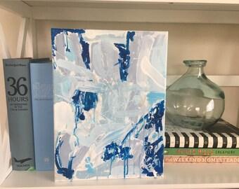 Modern abstract art, affordable modern painting, blue and white, blue abstract, abstract expressionism, modern original art, splatter art