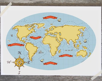 Children's Wall Art Print - Nautical Map (Turquoise) - Kids Nursery Room Decor