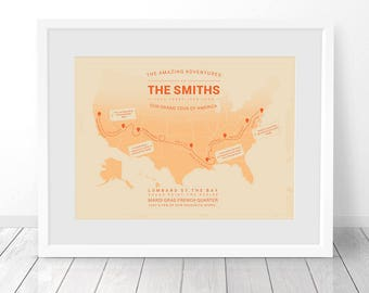 Personalised USA Travel Map, United States Map, America map, Anniversary Gift, Custom Travel Poster Print, Places Been Map, Where We've Been