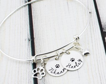 Sterling Silver Pet Jewelry - Cat Lover Gift - Dog Lover Gift - Dog Bracelet - Cat Bracelet - Paw Print Bracelet - Pet Memorial Bracelet