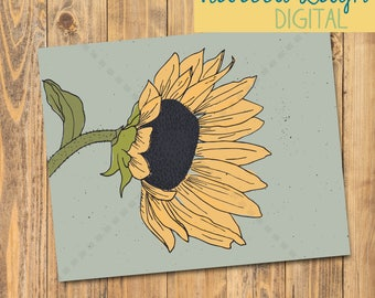Sunflower Art Print | Printable | Poster | Flower Art