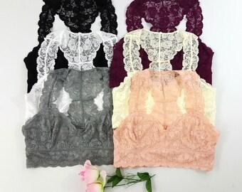 Plus Size Sweetheart Racerback BRALETTE - (many colors) lace bralette bra bras bralettes curvy top