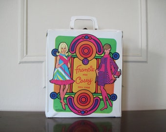 vintage Francie & Casey MOD Barbie Doll Case -  1960s psychedelic, Carnaby Street style - travelling tote bag
