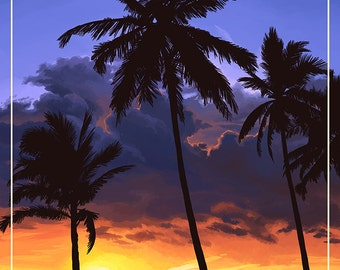 San Clemente, California - Palms and Sunset (Art Prints available in multiple sizes)