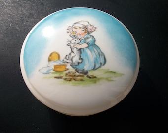 elegant / round candy box / handpainted porcelain / /petite girl.
