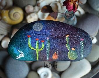 Painted Rock Desert, Cactus Rock, Night Cactus Garden, Hand Painted Rock, Southwestern Decor, Paperweight, Galaxy Night Sky, hisOpal Rocks