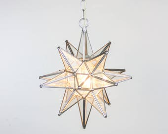 Star Of Bethlehem Lamp Seeded Clear Glass U0026 Chrome Silver Metal Tin Pendant  Light   Handmade