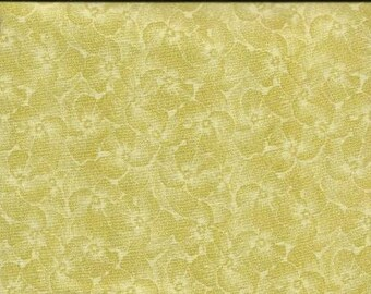 RJR Jenny Beyer Quilting Cotton Fabric Gentle Yellow Pansy 126093 - 1/2 Yard
