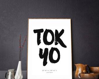Tokyo City Print. Japan Print. Toyko Poster. Toyko Coordinates. Toyko Print. City Poster. City Coordinates. Japan Coordinates. Travel Gift.