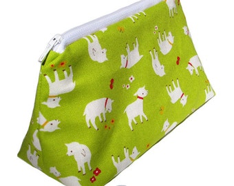 JULY PREORDER Cosmetic pouch bag with lime green pink lining lamb farm japanese fabric make up case gift bag travel kit toiletry zipper