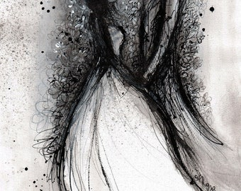 Wedding art, A4 8x12 ink painting, romantic drawing