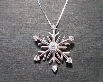 New 14k White Gold On 925 Winter Snowflake Charm Pendant
