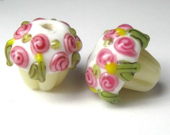 SALE - Lampwork Cupcake Beads - Qty 6