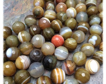 Toffee Caramel Banded Agate 12mm Semi-Precious Faceted Gemstones