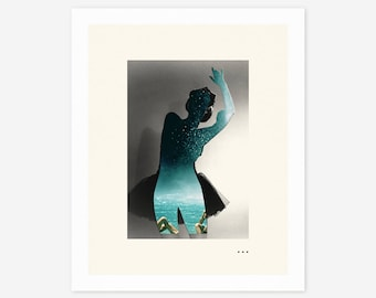 WATERFALL (Giclée Fine Art Print/Photo Print/Poster Print) Surreal, Minimal, Abstract Collage
