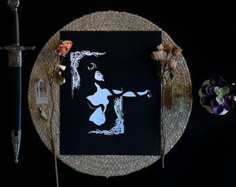 """Lilith • 10x12"""" Screen print by Amalia Kouvalis"""