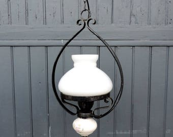 A vintage French, hurricane pendant lamp, ceiling light, with white milk glass shade and ceramic oil bowl signed Silver Jour
