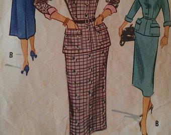 Vintage 50s Wasp Waist Button Front Jacket Turnback Cuffs Nip Waist Suit Sewing Pattern 9325 B36