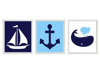 Nautical Sailboat Anchor Whale Wall Art Print  - Navy Blue Light Blue White - Nursery Children Room Home Decor