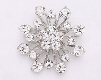 Rhinestone Brooch Wedding, Bridal Crystal Silver Brooch, Crystal Sash Brooch, Cake Decor, Diamante Brooche, Brooches for Vintage Bouquet
