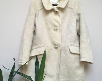 Vintage 70s Pure Wool Midi Cream Coat Size Small Medium
