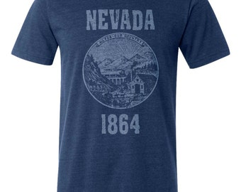 Nevada State Seal T-Shirt Vintage Style Soft Retro Southwest Shirt Unisex Men's Slim Fit and Women's Tee